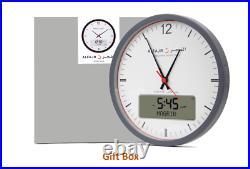 Alfajr Islamic Muslim Prayer Analog Digital Reminder Azan Round Wall Clock CR-23