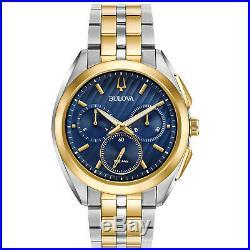 Bulova CURV Men's Collection Quartz Chronograph Blue Dial 43mm Watch 98A159