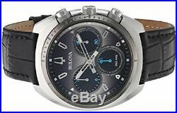 Bulova Mens Curv Collection Quartz Steel Leather Casual Watch Black 98A155
