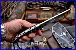 CFK Handmade 154CM Custom Bushcraft Camping Hunting Sport Knife Kydex Sheath Set