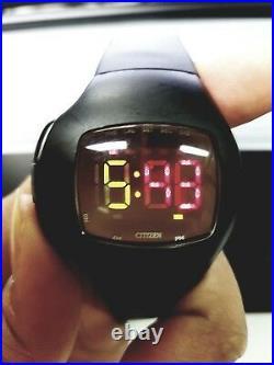 Collectible Vintage Cityzen Independent 1481010 LED Digital Watch Matte Black