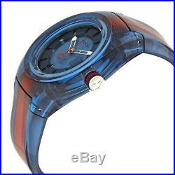 GUCCI Sync XXL 43MM Quartz Blue Dial Rubber Band Men's Watch (YA137112)
