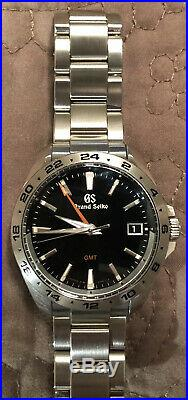 Grand Seiko Sport Collection 9F GMT 39mm Watch with Black Dial SBGN003 Immaculate