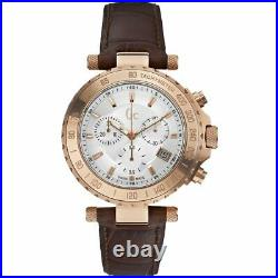 Guess Collection GC Men's Chronograph Multi Dial Rose Gold Brown Leather Watch