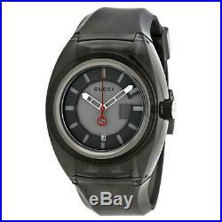 New GUCCI Sync XXL 43MM Quartz Gray Dial Rubber Band Men's Watch (YA137111)