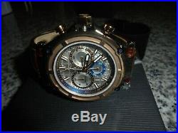 New Guess Collection Brown Leather/gold Swiss Made Chronograph Watch Nib