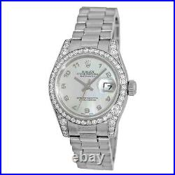 ROLEX 18K White Gold President Crown Collection Factory Diamond # 179159 Box