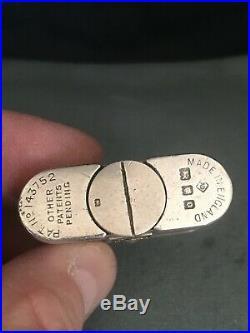 Rare Hallmarked 1929 Solid Silver Dunhill Unique B Bijou Sports Lighter