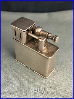Rare Swiss Solid Silver Parker Dunhill Sports Windshield Pocket Lighter