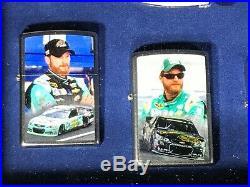 S-67 Dale Earnhardt Jr #88 Zippo Lighter Set 7 Zippo Lighter Set In Glass Case