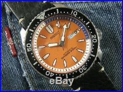 SEIKO SKXA53 7S26-02K0 Orange Dial All Original Except Strap Rare Collection