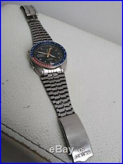 Seiko Pepsi Pogue 6139-6002 Automatic Chronograph 100% Japan Vintage Collectible
