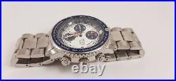 Seiko Sna413 Flightmaster Pilot Chronograph Alarm Rare Blue Collectable