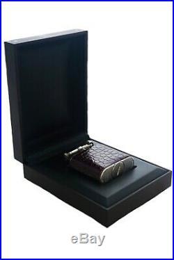 Silver Dunhill Sports Burgundy Alligator Leather Cigarette Lighter Case & Box