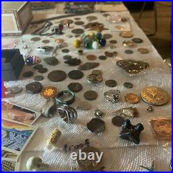 Vintage Junk Drawer Lot Military Sterling Silver Stamps Coins Money Sports Cards