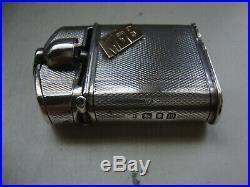 Vintage Solid STERLING SILVER Gold Lift Arm BENEY Sport Pocket Cigarette LIGHTER